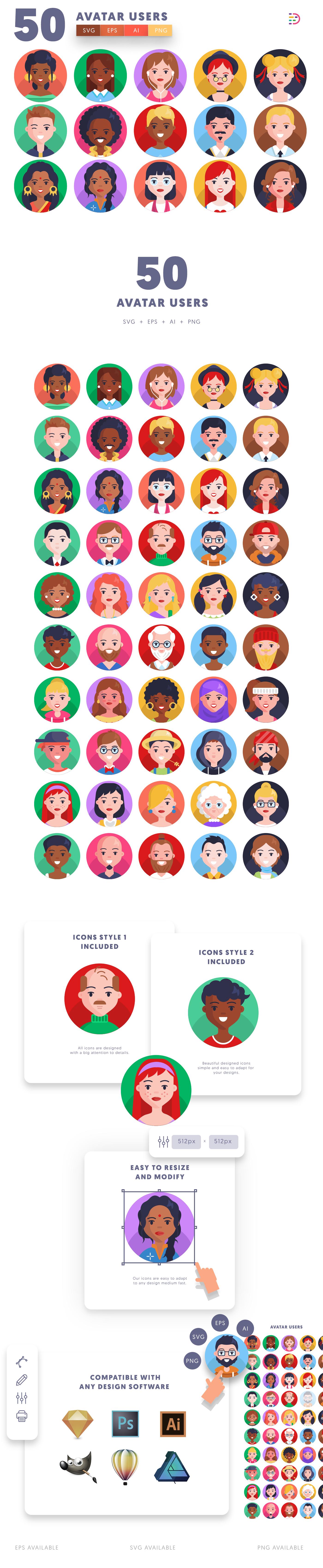 Avatar icons info graphic