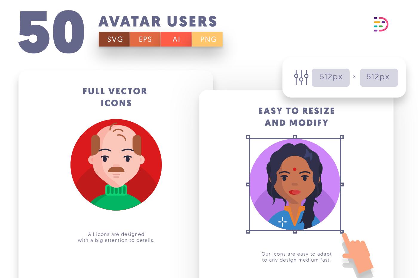 Full vector 50Avatar Icons