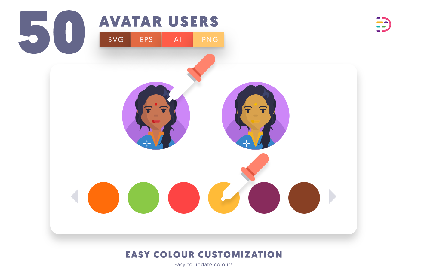 Customizable and vector 50 Avatar Icons