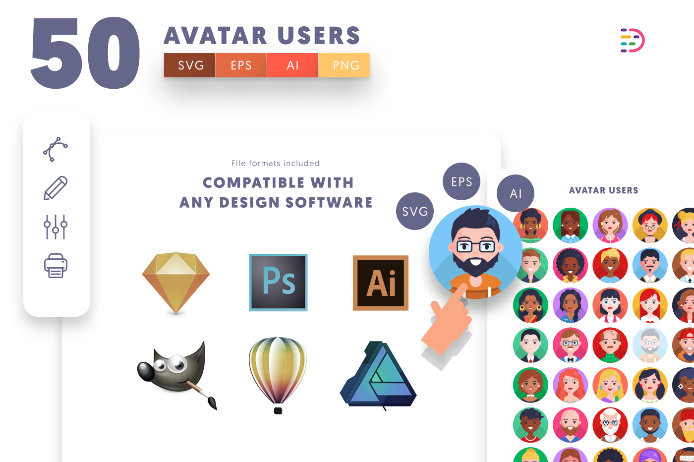 full vector 50 Avatar Icons EPS, SVG, PNG