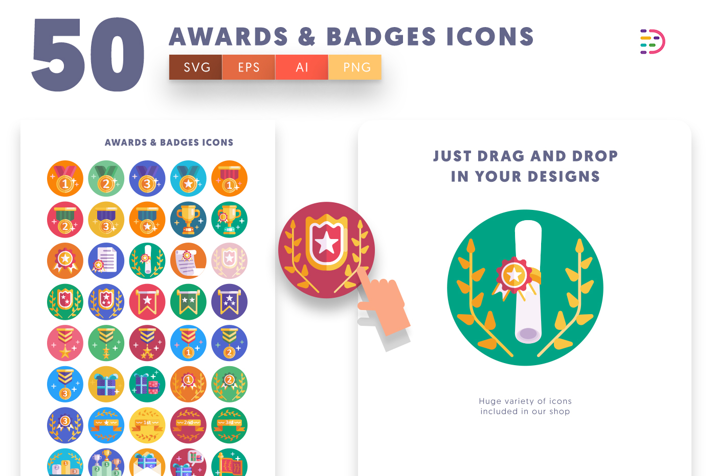 full vector Awards Badges Icons EPS, SVG, PNG