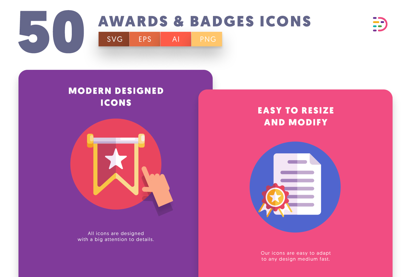 Customizable and vector 50 Awards Badges Icons