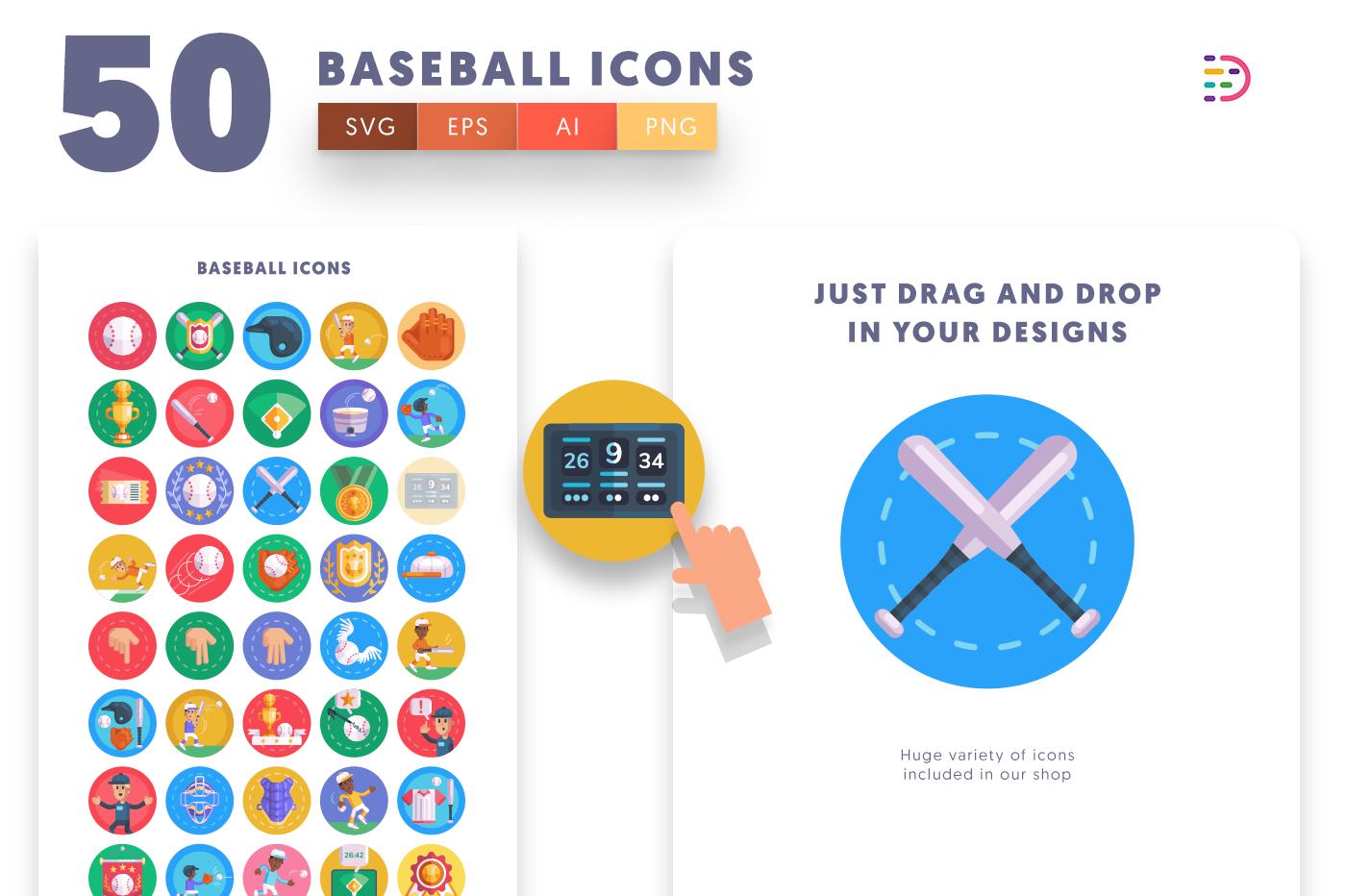 Drag and drop vector 50 Baseball Icons