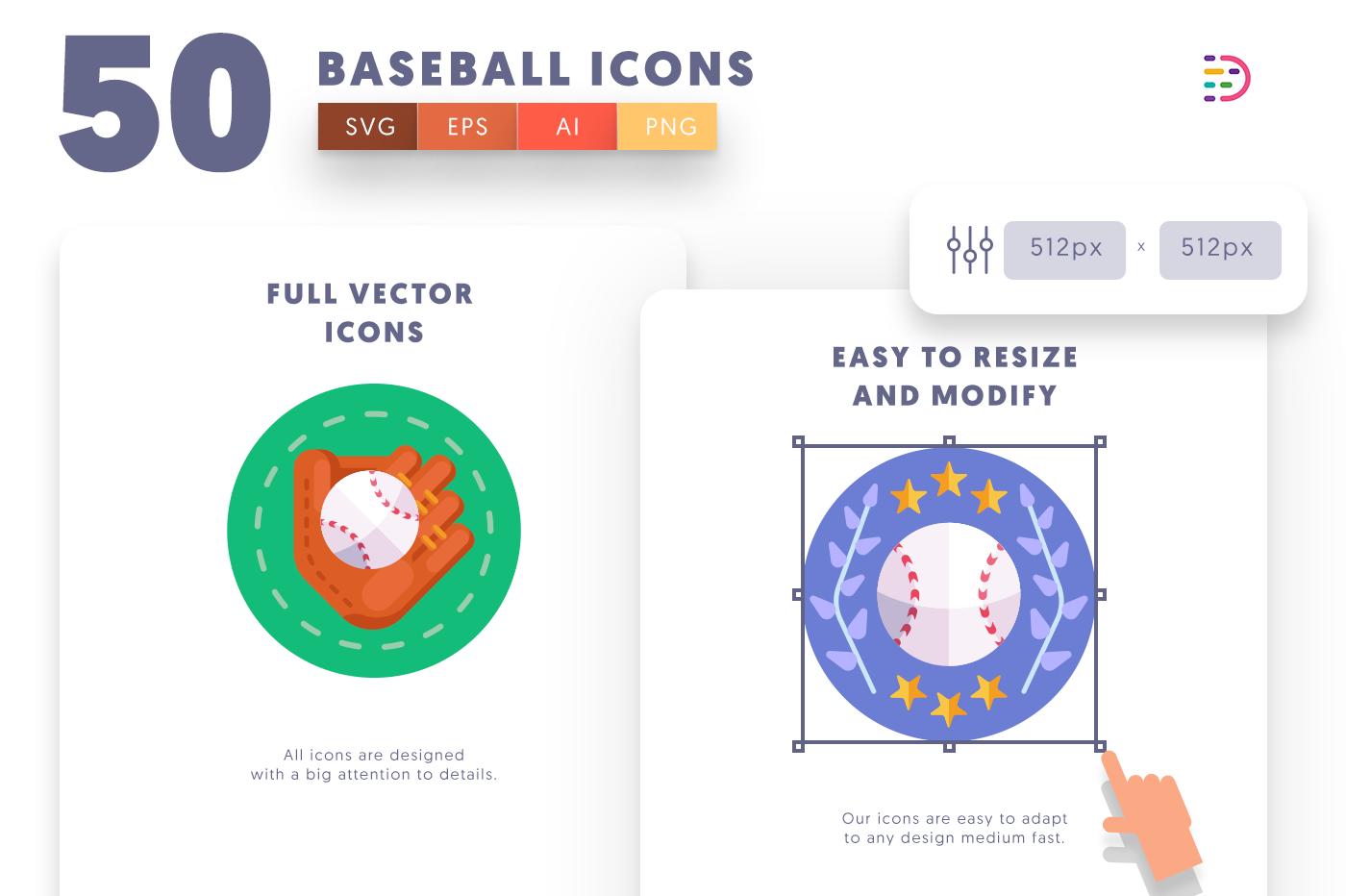 Full vector 50Baseball Icons