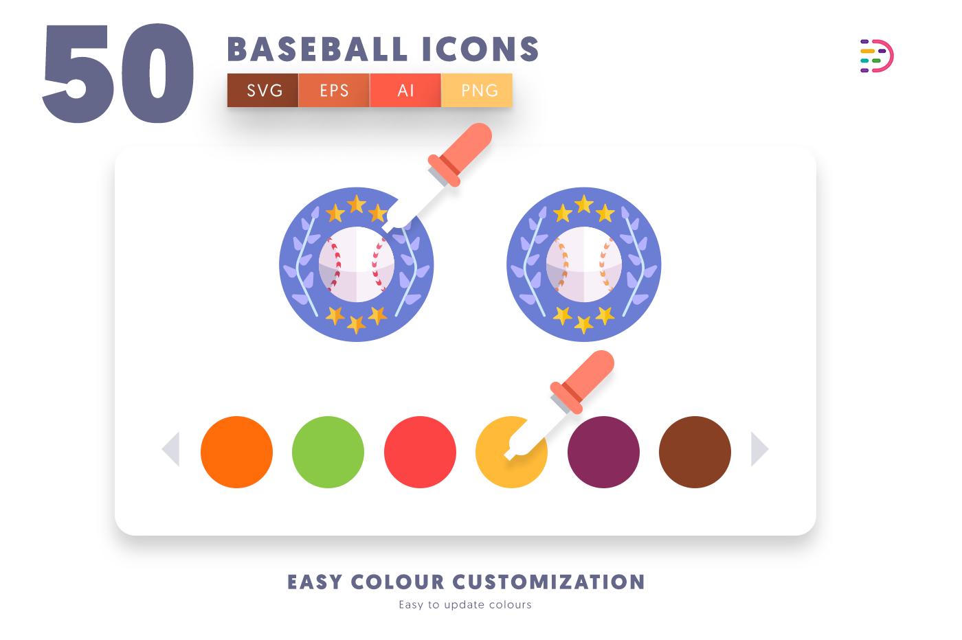 Customizable and vector 50 Baseball Icons