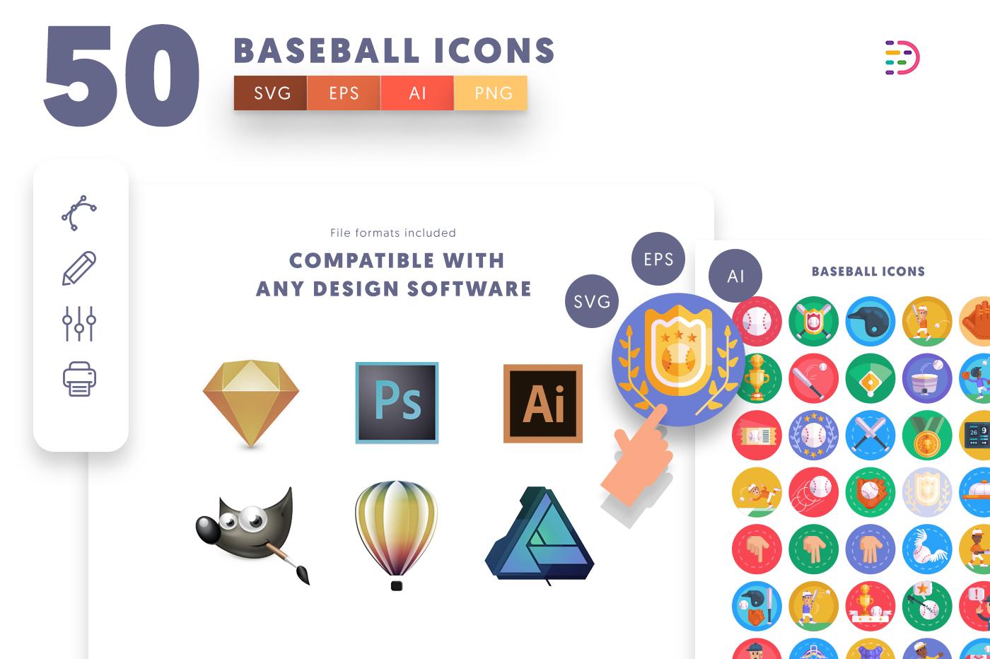 full vector 50 Baseball Icons EPS, SVG, PNG