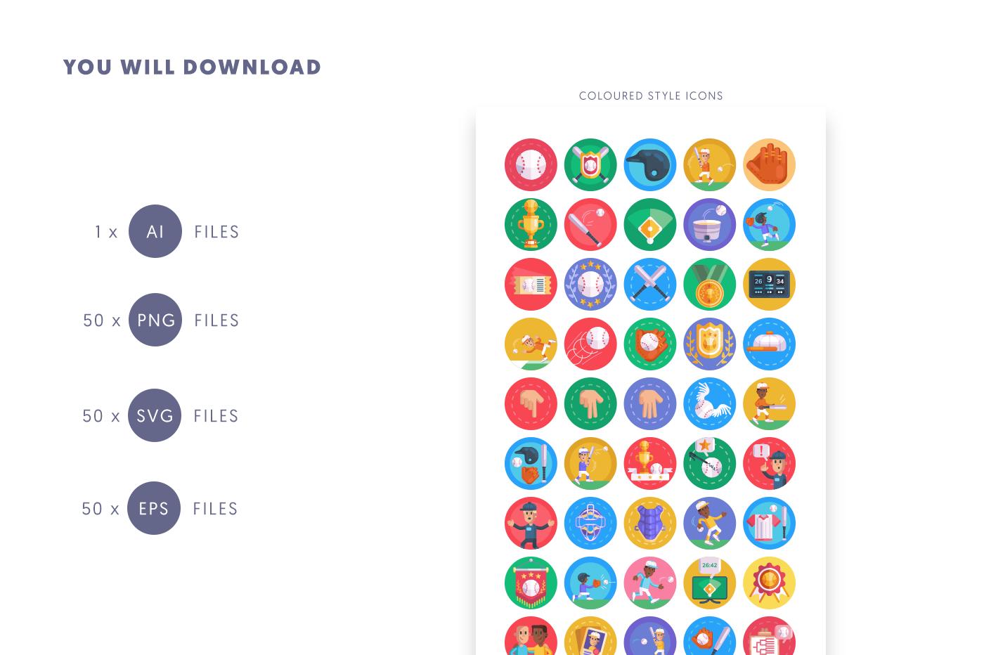 Compatible 50 Baseball Icons pack