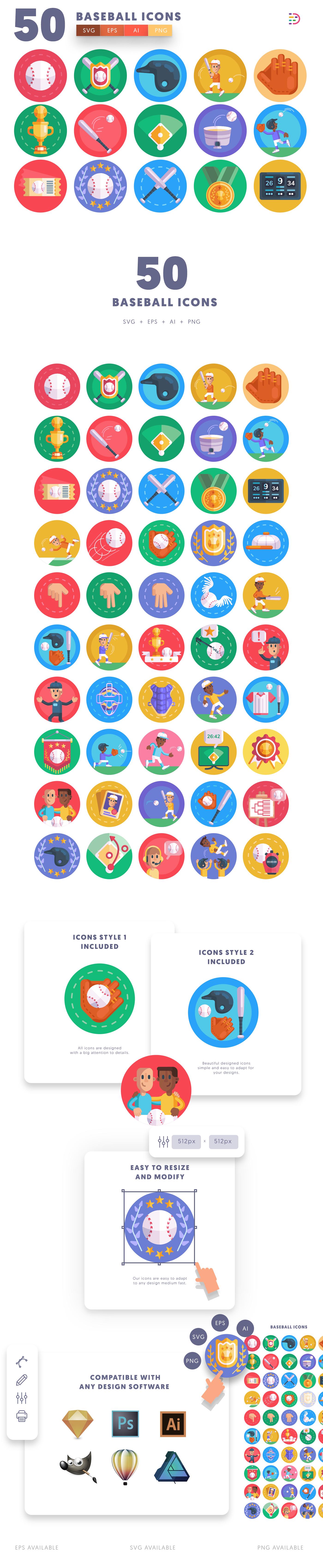 Baseball icons info graphic