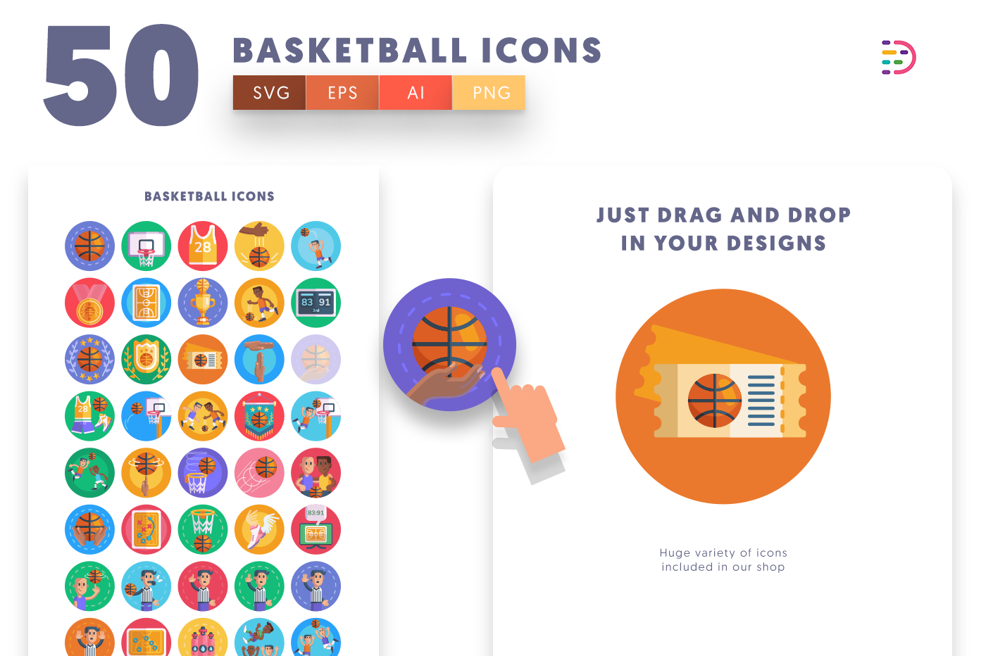 Drag and drop vector 50 Basketball Icons
