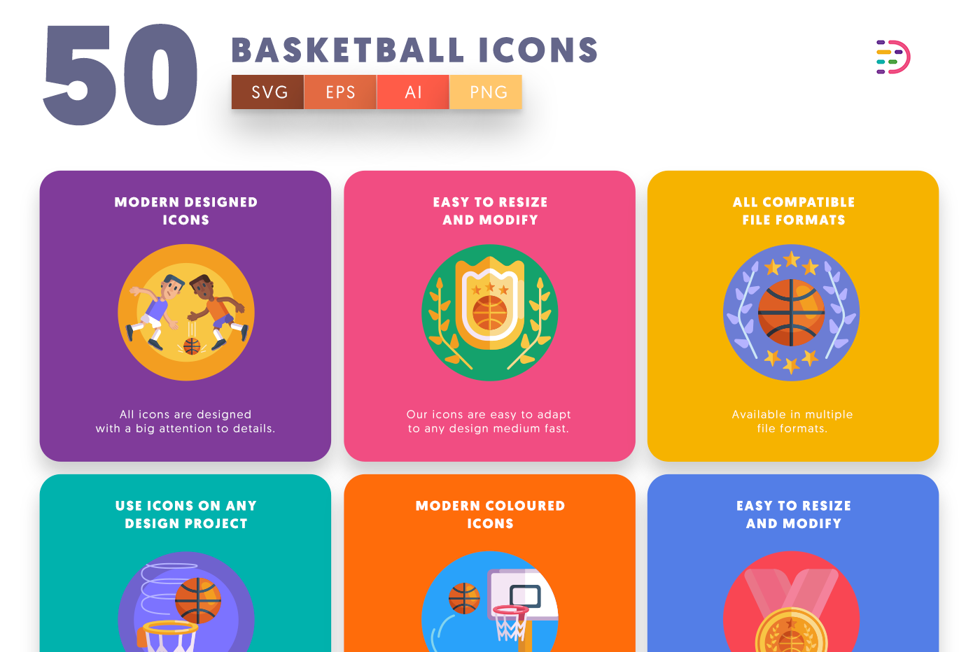 50 Basketball Icons with colored backgrounds