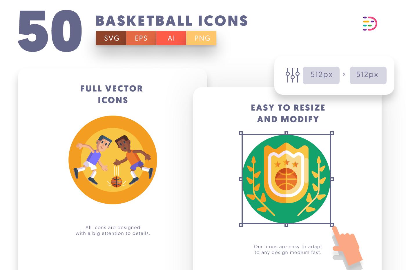 Full vector 50 Basketball Icons
