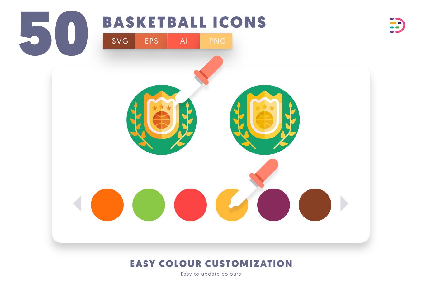 Customizable and vector 50 Basketball Icons