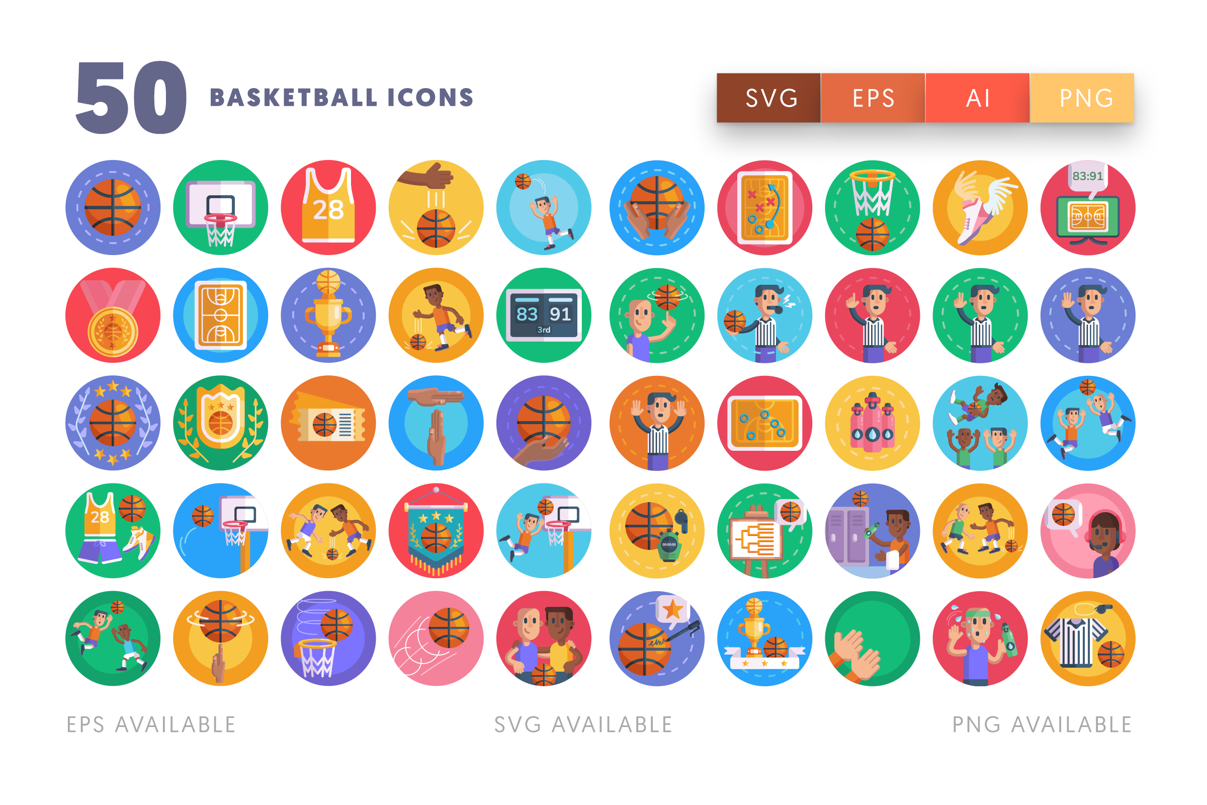Basketball icons png/svg/eps