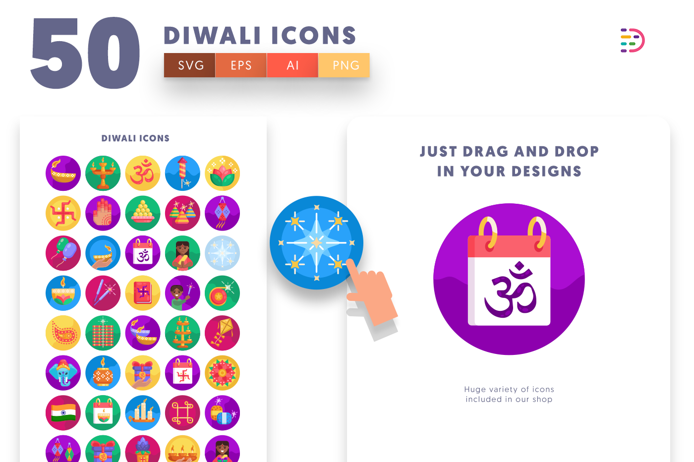 Drag and drop vector 50 Diwali Icons