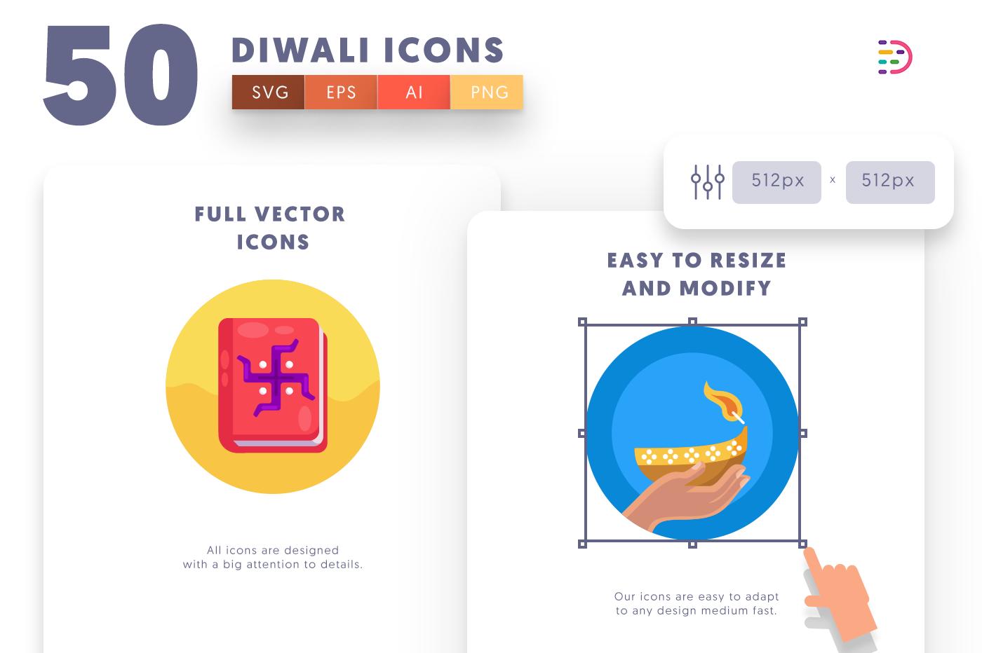 Full vector 50Diwali Icons