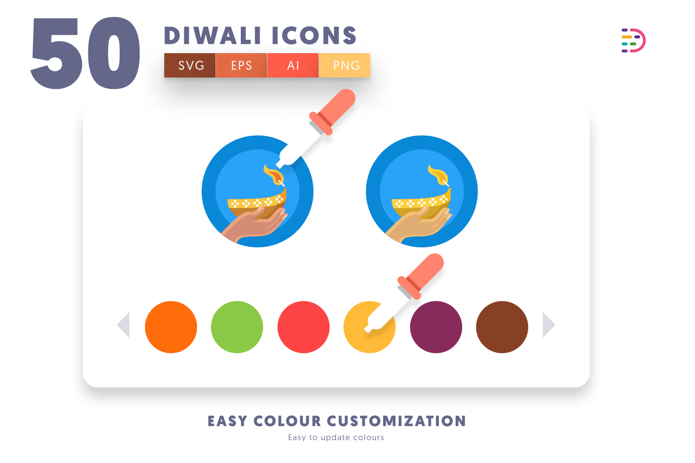 Customizable and vector 50 Diwali Icons