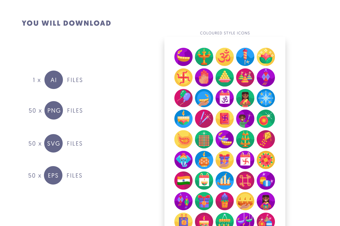 Compatible 50 Diwali Icons pack