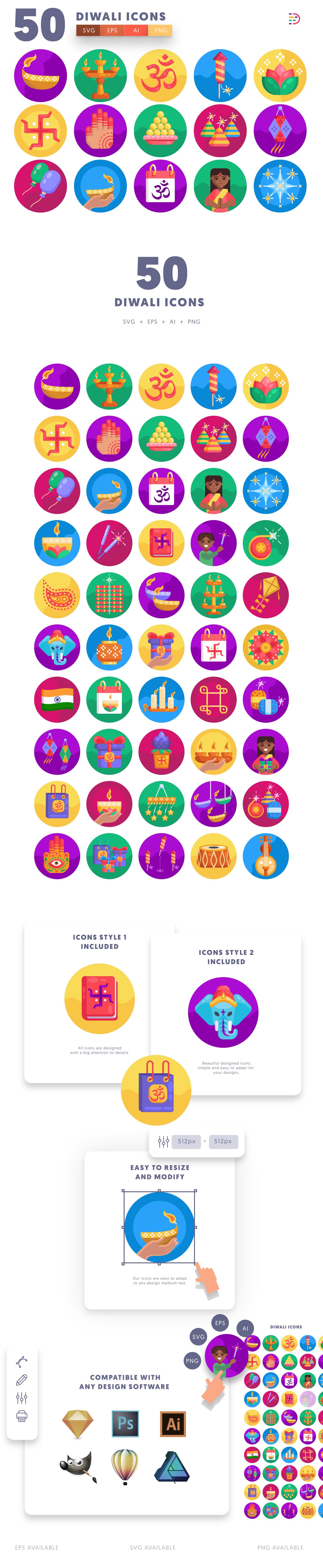 Diwali icons info graphic