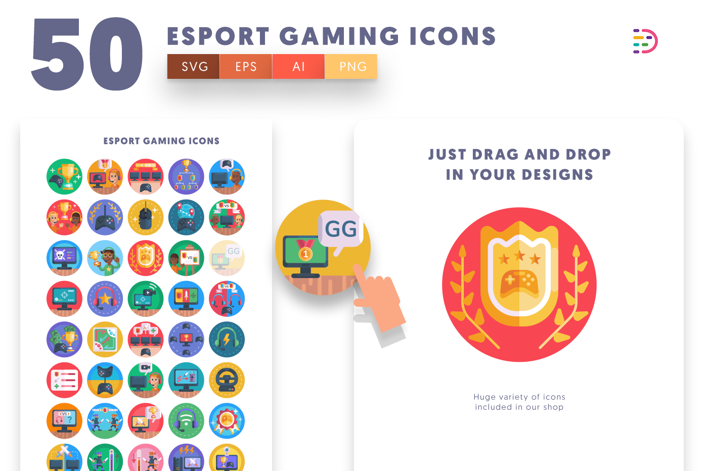 Drag and drop vector 50 Esport Gaming Icons