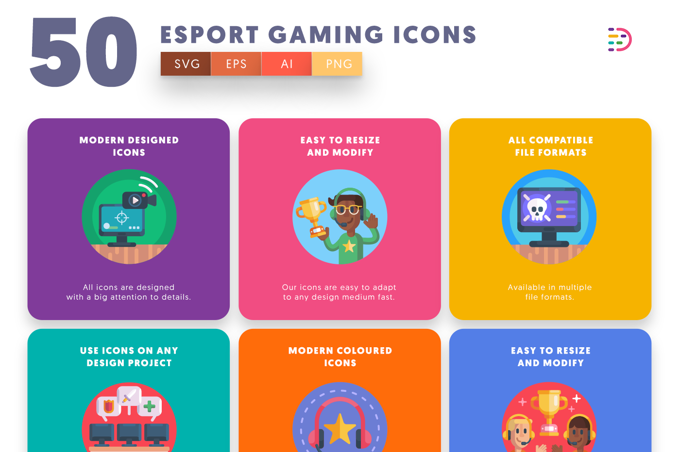 50 Esport Gaming Icons with colored backgrounds