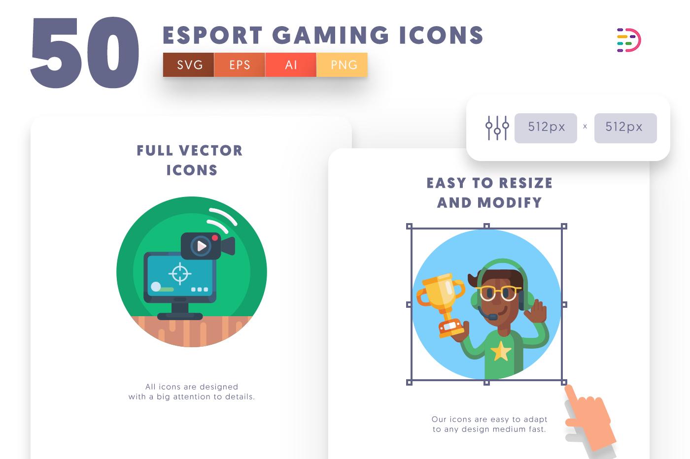 Full vector 50EsportGaming Icons
