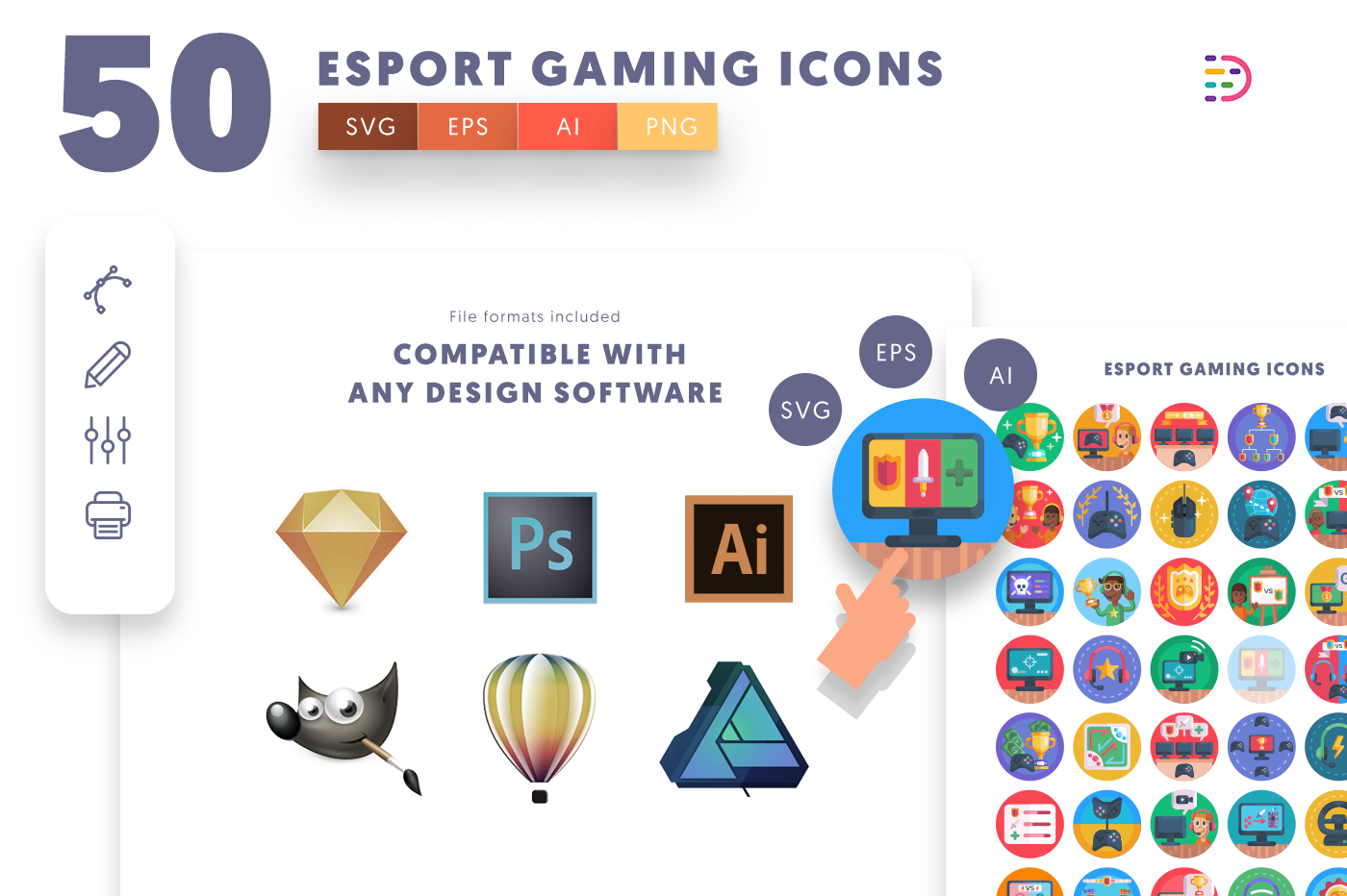 full vector 50 Esport Gaming Icons EPS, SVG, PNG