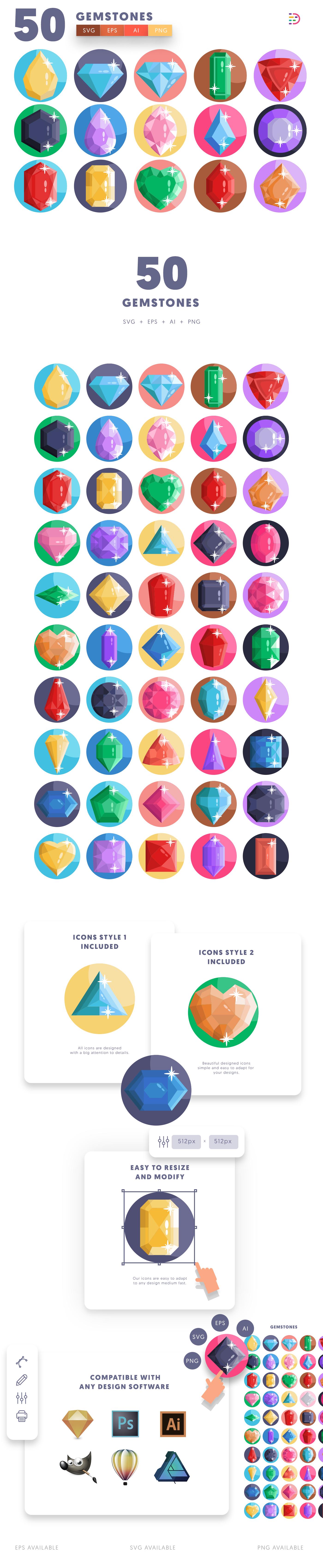 Gemstones icons info graphic
