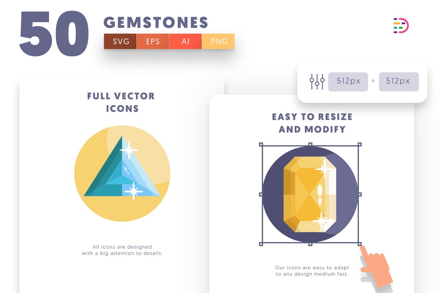 Full vector 50Gemstones Icons
