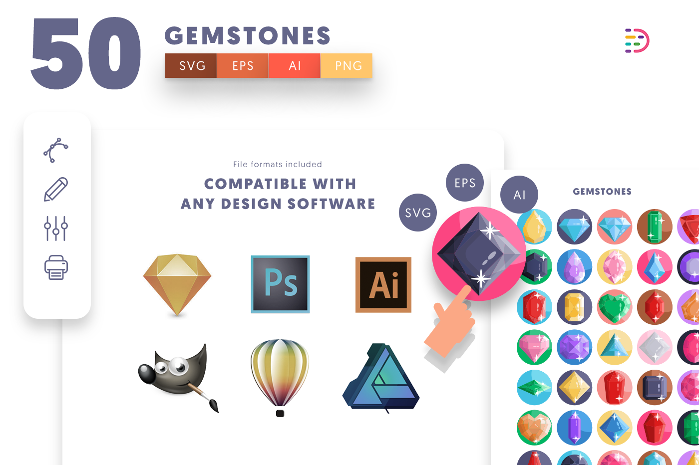 full vector 50 Gemstones Icons EPS, SVG, PNG