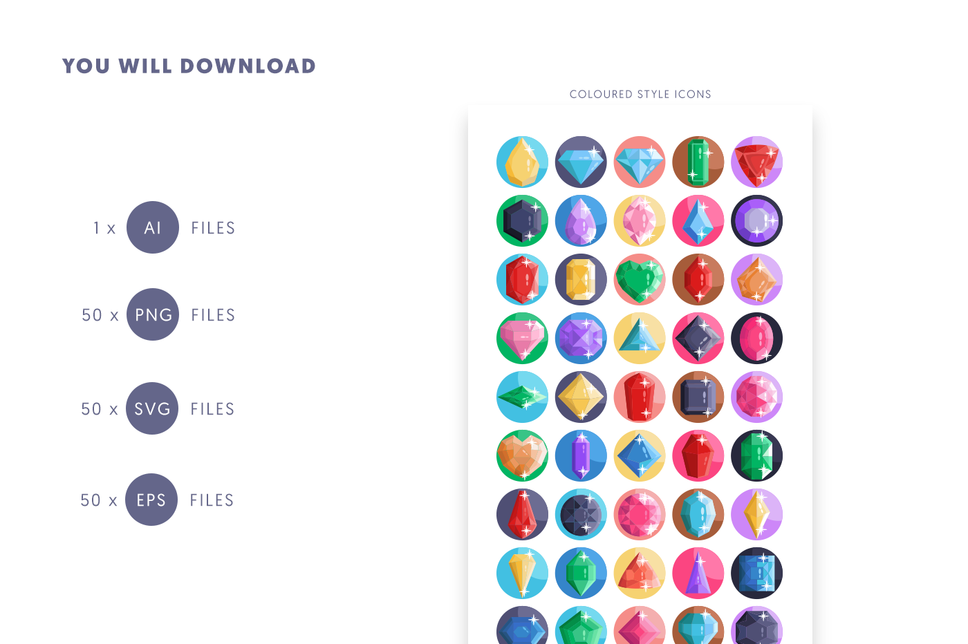 Compatible 50 Gemstones Icons pack