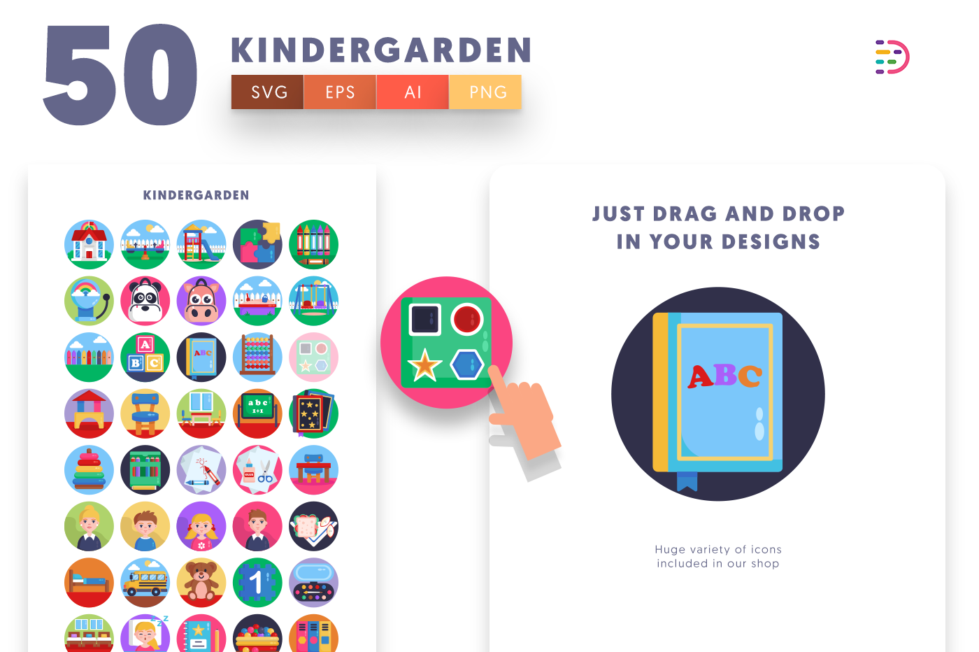 Drag and drop vector 50 Kindergarden Icons