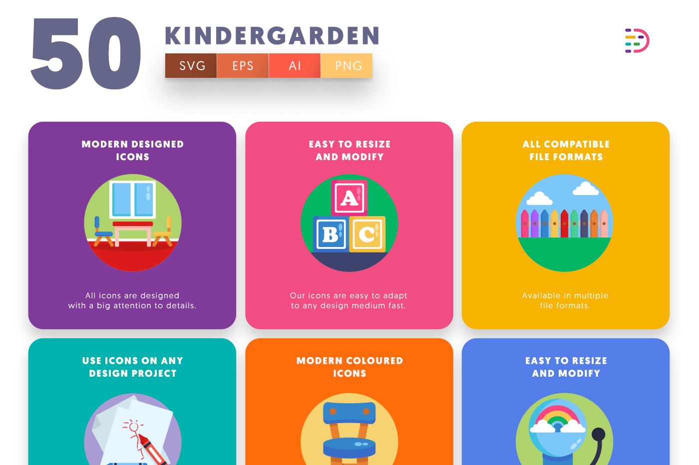 50 Kindergarden Icons with colored backgrounds