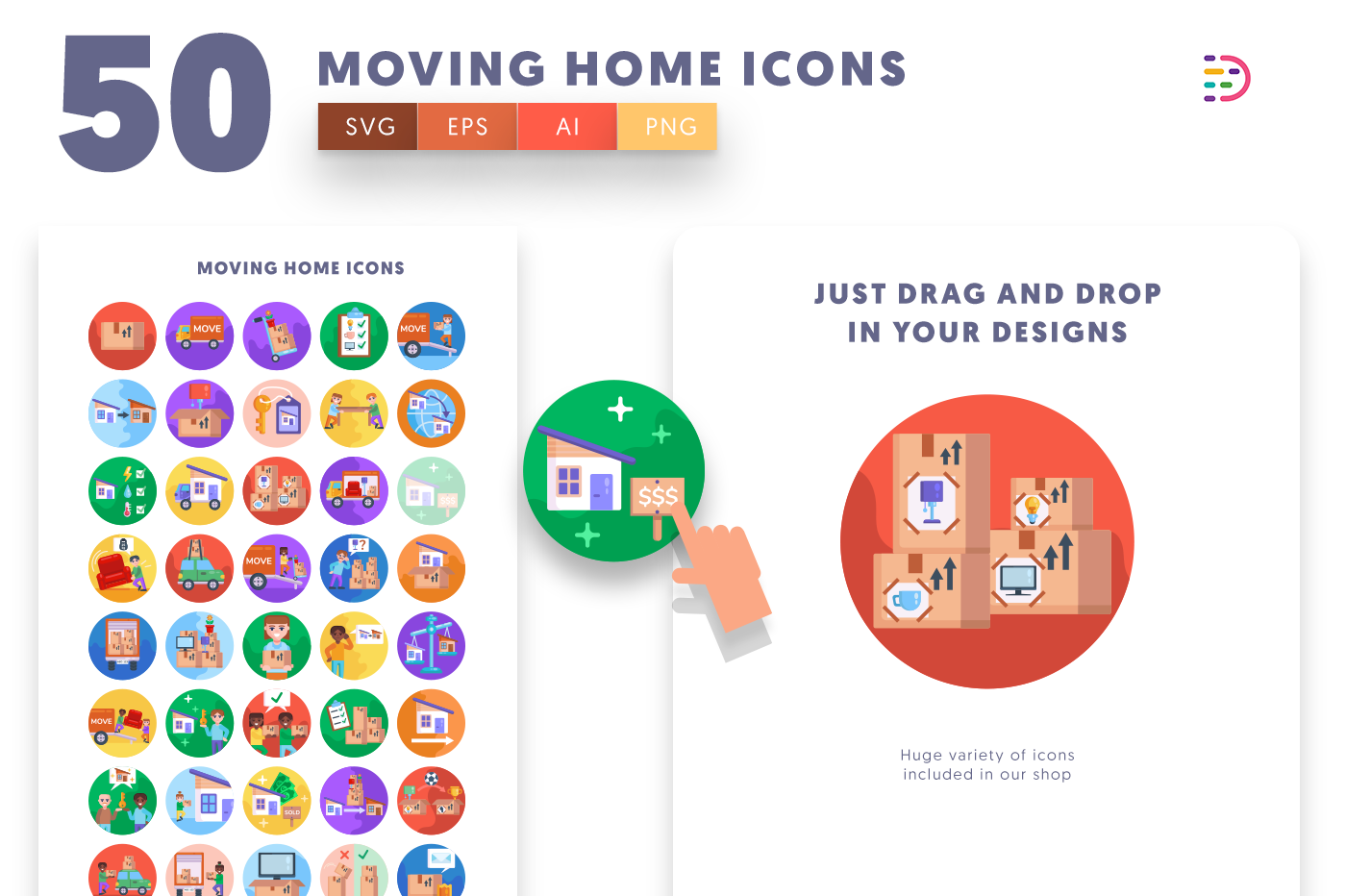 Drag and drop vector 50 Moving Home Icons
