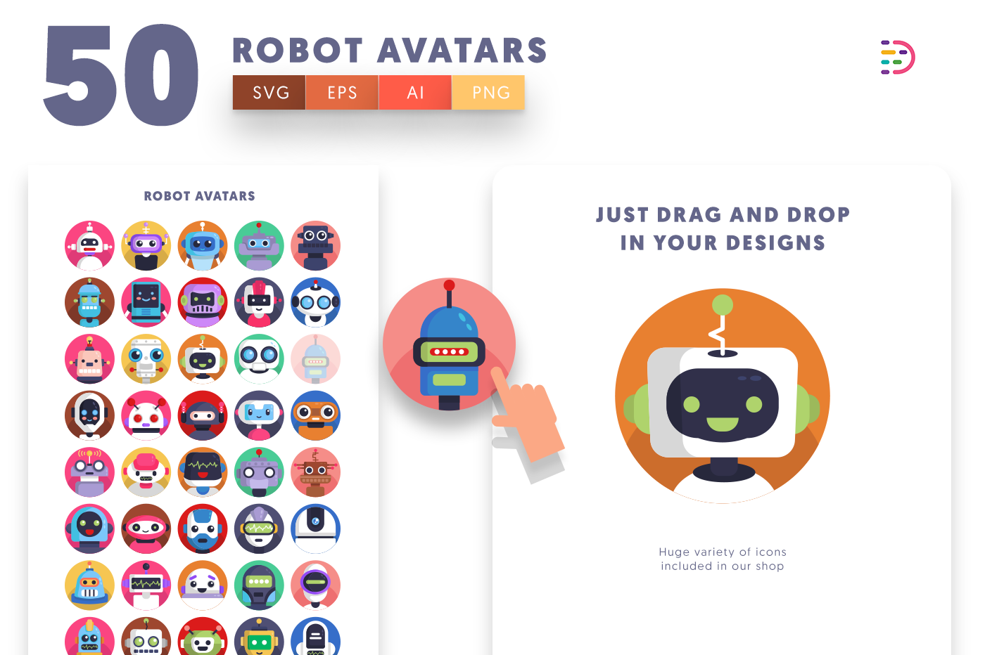 Drag and drop vector 50 Robot Avatar Icons