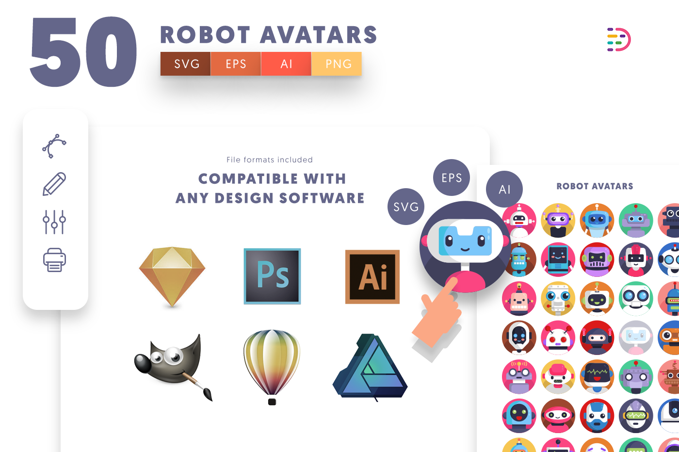 full vector 50 Robot Avatar Icons EPS, SVG, PNG