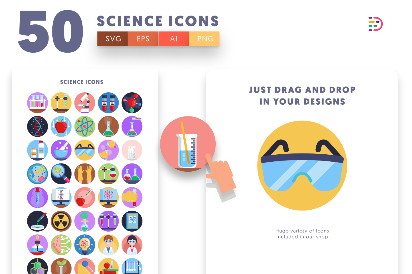 Drag and drop vector 50 Science Icons