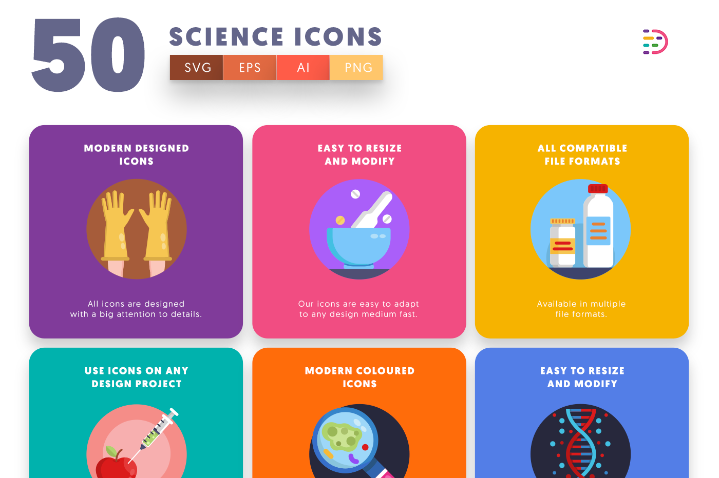 50 Science Icons with colored backgrounds