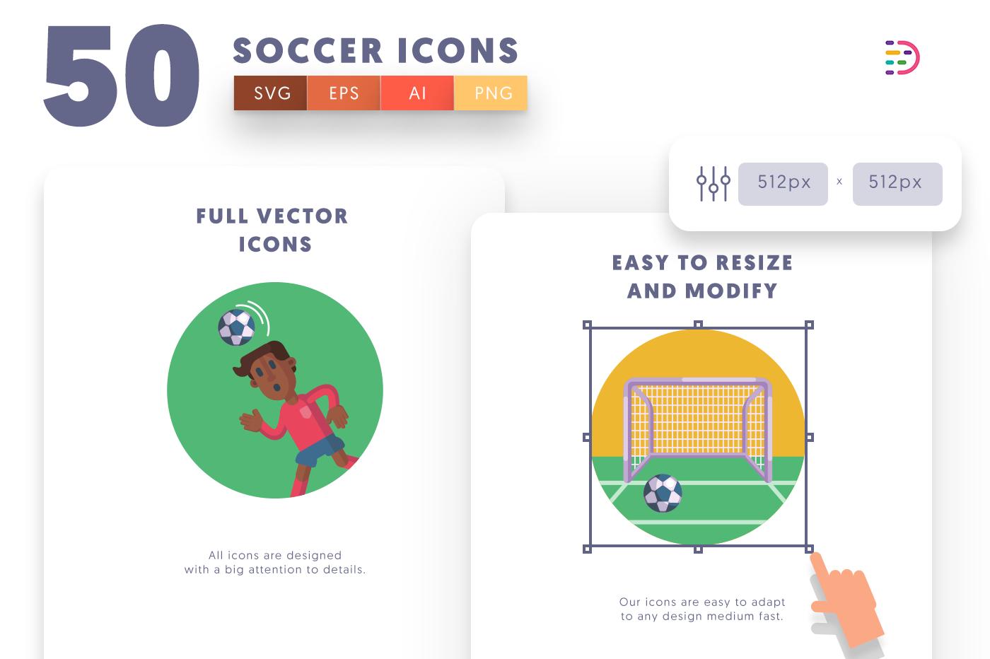 Full vector 50Soccer Icons