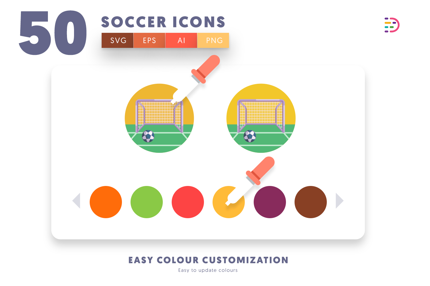 Customizable and vector 50 Soccer Icons