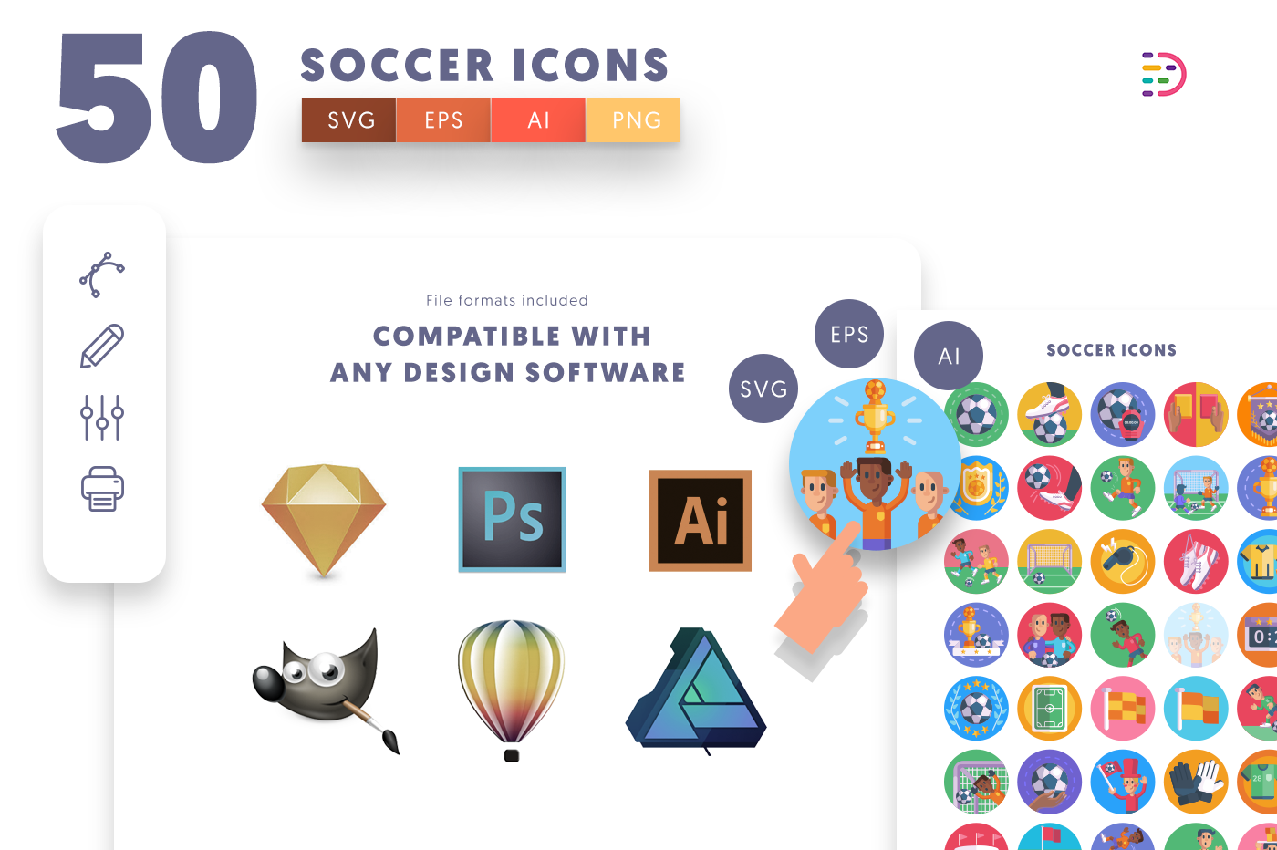full vector 50 Soccer Icons EPS, SVG, PNG