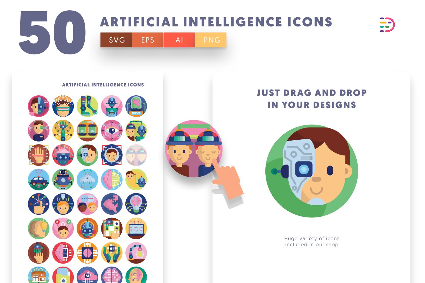Drag and drop vector 50 Artificial Intelligence Icons