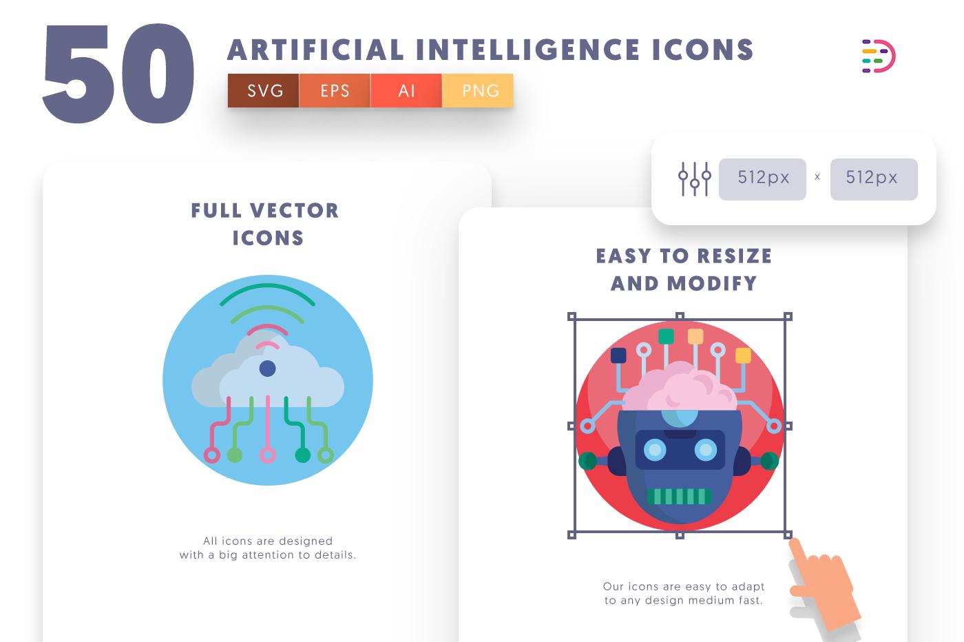 Full vector 50Artificialintelligence Icons