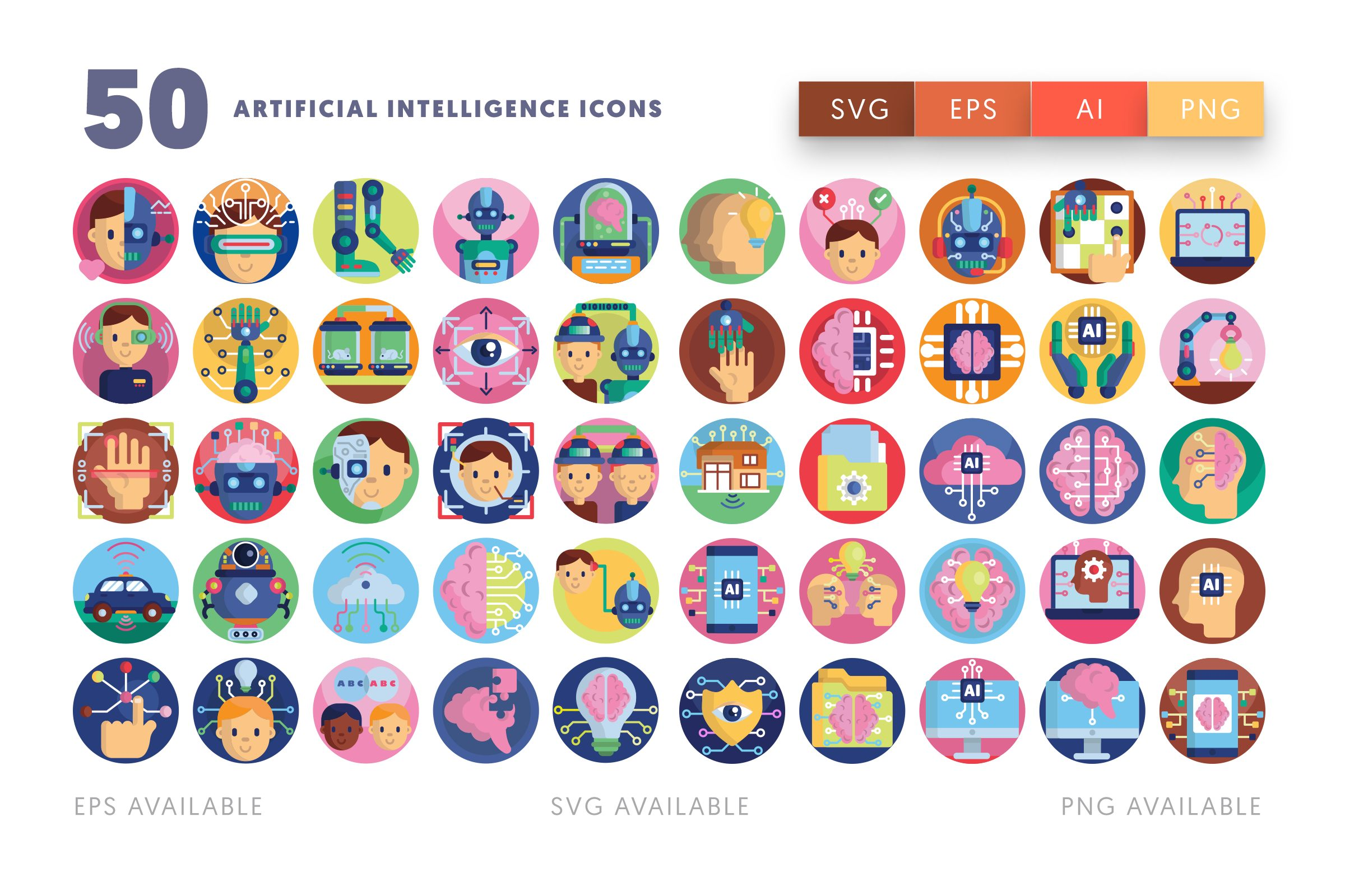Artificial Intelligence icons png/svg/eps
