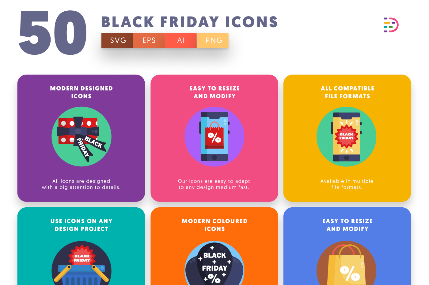 50 Black Friday Icons with colored backgrounds