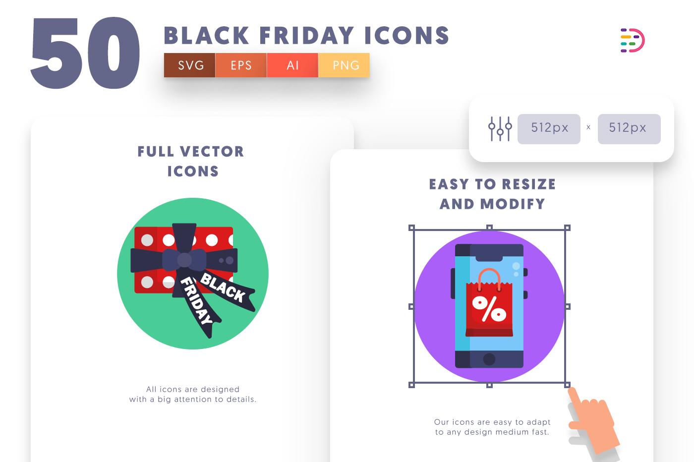 Full vector 50Blackfriday Icons