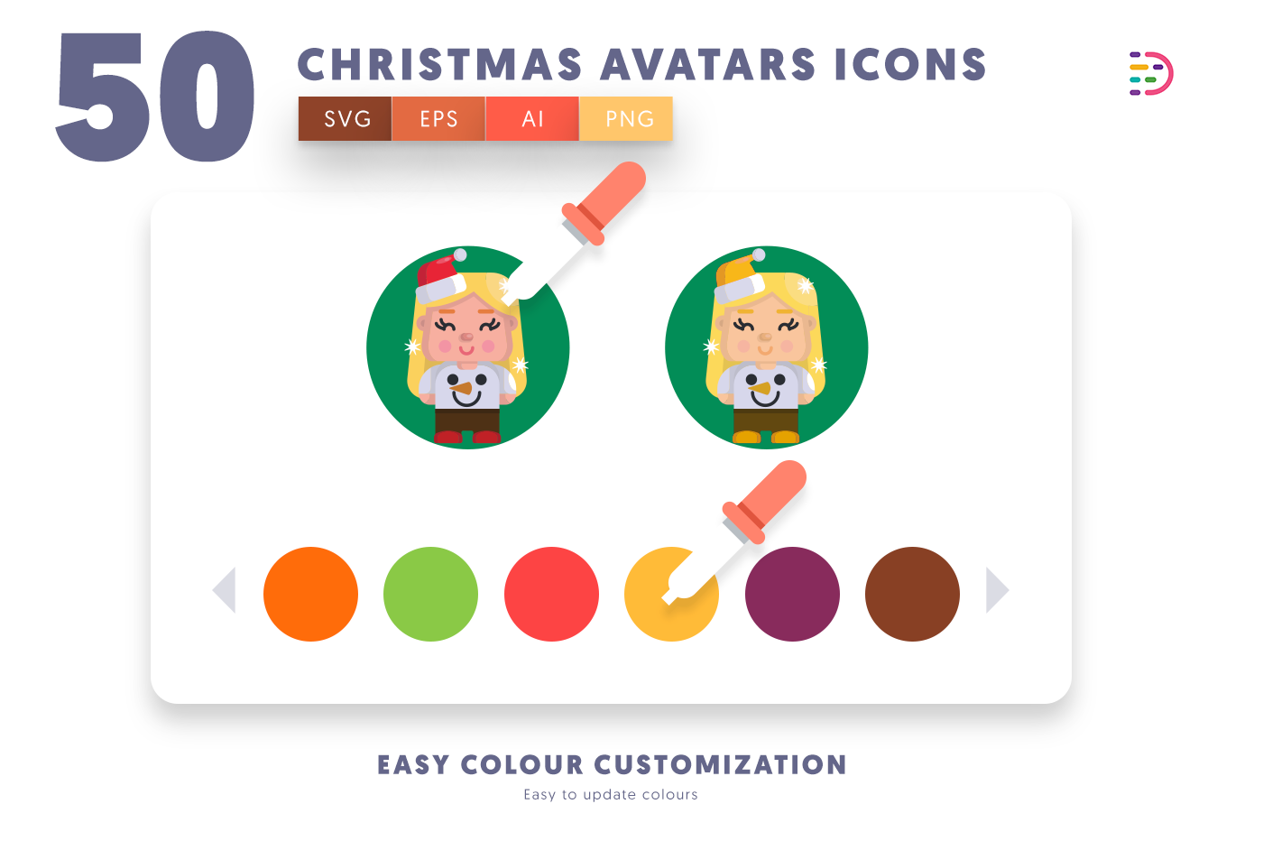 Customizable and vector 50 Christmas Avatars Icons