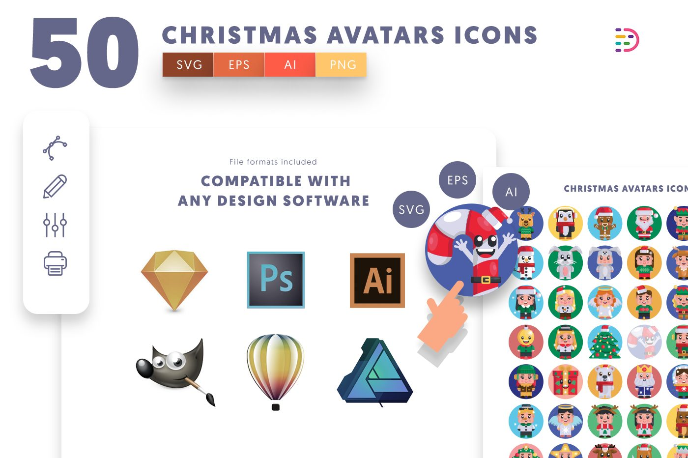 full vector 50 Christmas Avatars Icons EPS, SVG, PNG