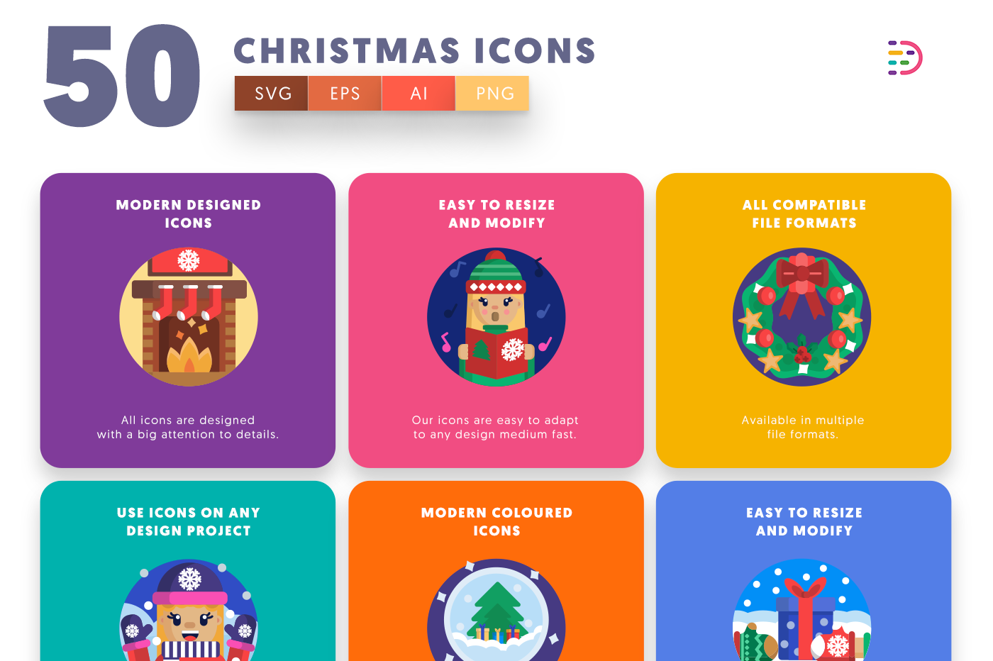 50 Christmas Icons with colored backgrounds