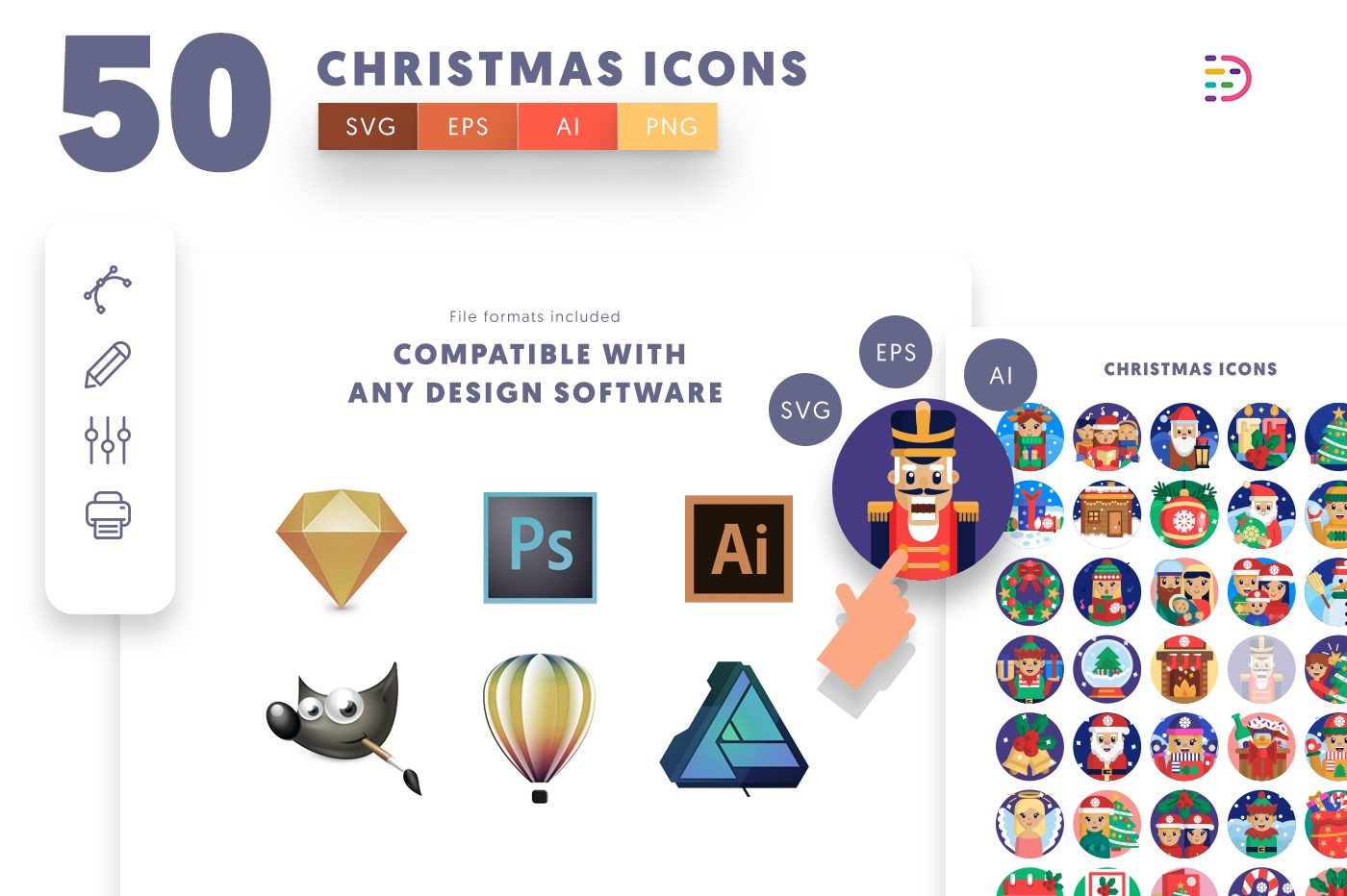 full vector 50 Christmas Icons EPS, SVG, PNG