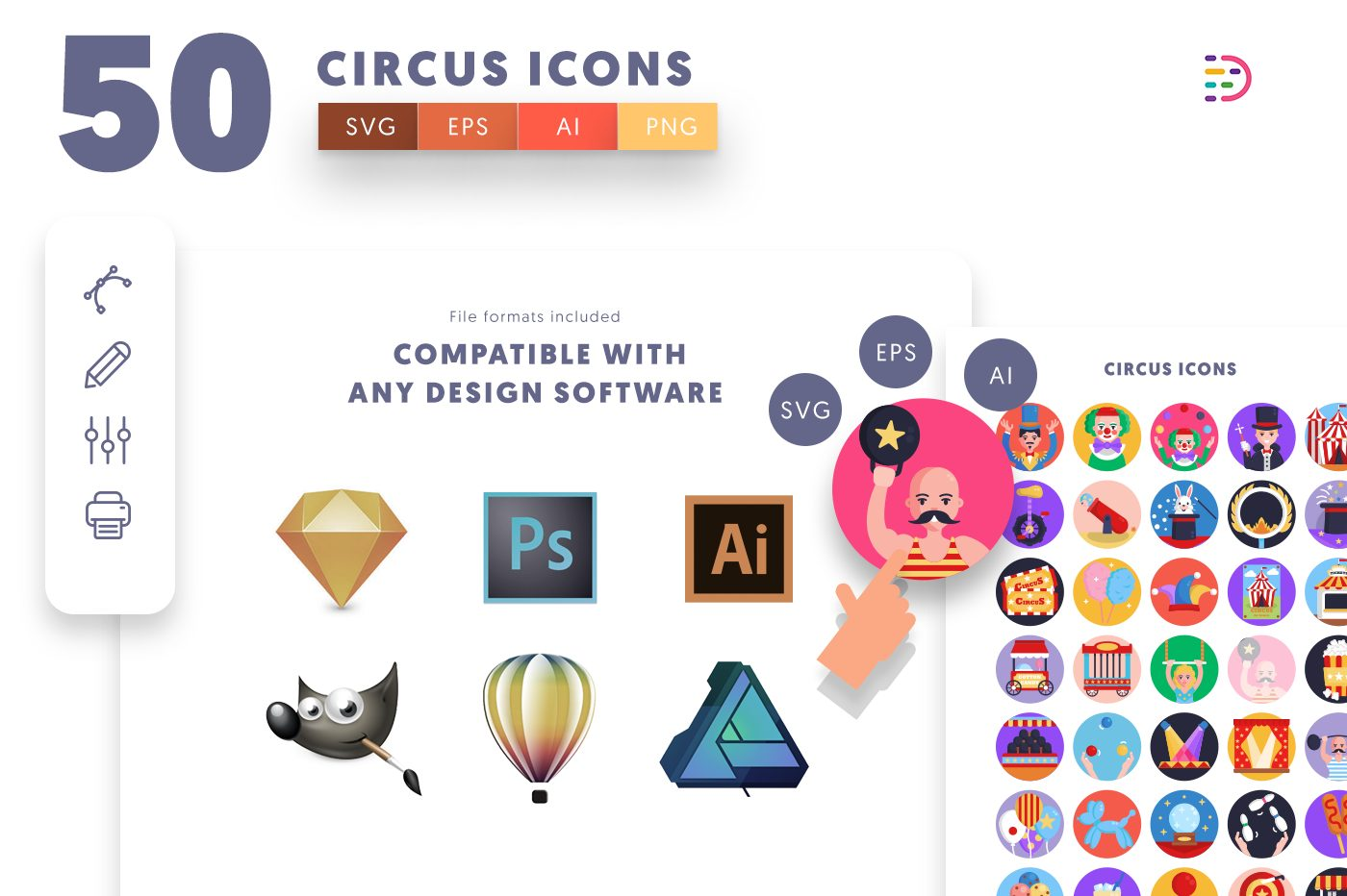 full vector 50 Circus Icons EPS, SVG, PNG